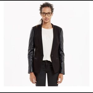 Madewell Black Blazer Leather Sleeve | Small